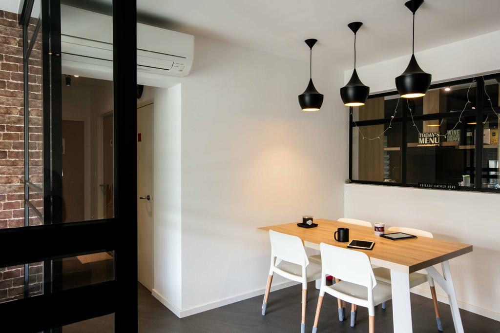 Scandinavian, HDB, Dining Room, Sumang Link, Interior Designer, Schemacraft, Hanging Lights, Dining Table, Dining Chairs, Floor Tiles, Furniture, Table, Indoors, Interior Design, Room, Shelf