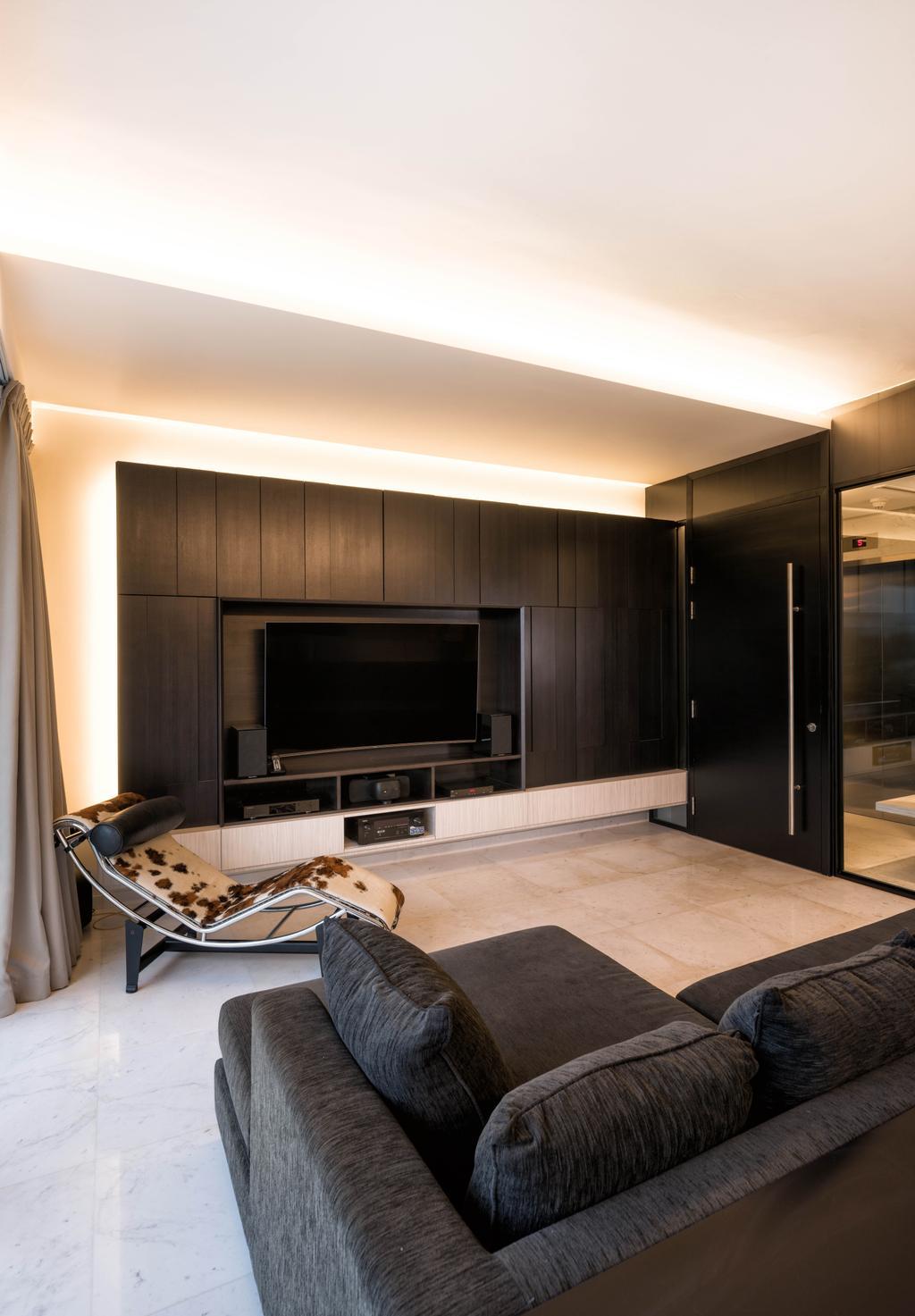 Modern, Condo, Living Room, Meyer Road, Architect, LLARK Architects, Electronics, Entertainment Center, Fireplace, Hearth, Indoors, Interior Design