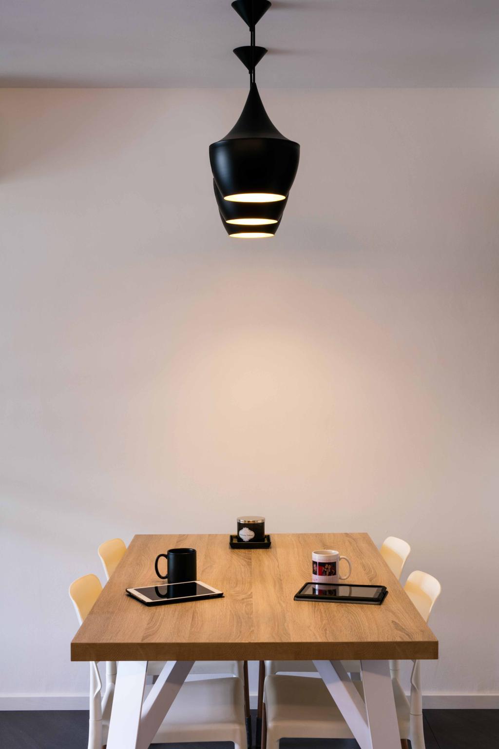 Scandinavian, HDB, Dining Room, Sumang Link, Interior Designer, Schemacraft, Hanging Lights, Dining Table, Dining Chairs