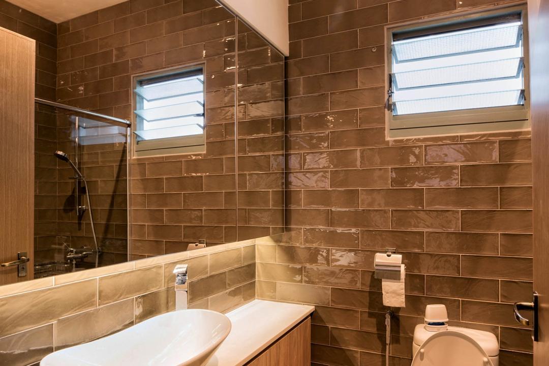 Punggol Drive, LLARK Architects, Contemporary, Bathroom, HDB, Sink, Indoors, Interior Design, Room, Brick