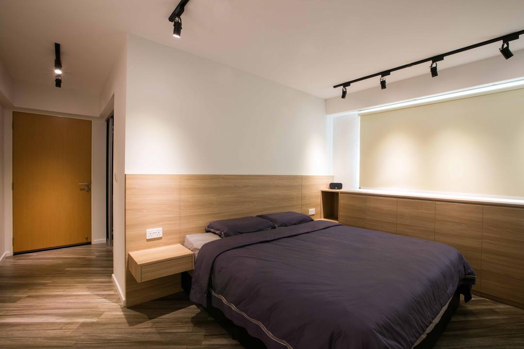 Sumang Link, Schemacraft, Scandinavian, Bedroom, HDB, Track Lights, Blinds, Head Board, Bed Frame, Side Tables, Fwood Floor, Bed, Furniture, Indoors, Interior Design, Room