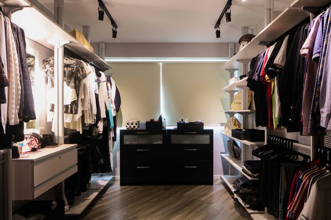 Sumang Link, Schemacraft, Scandinavian, Bedroom, HDB, Walk In Wardrobe, Wardrobe, Track Lights, Blinds, Clothing, Display Drawers, Closet, Human, People, Person, Apparel