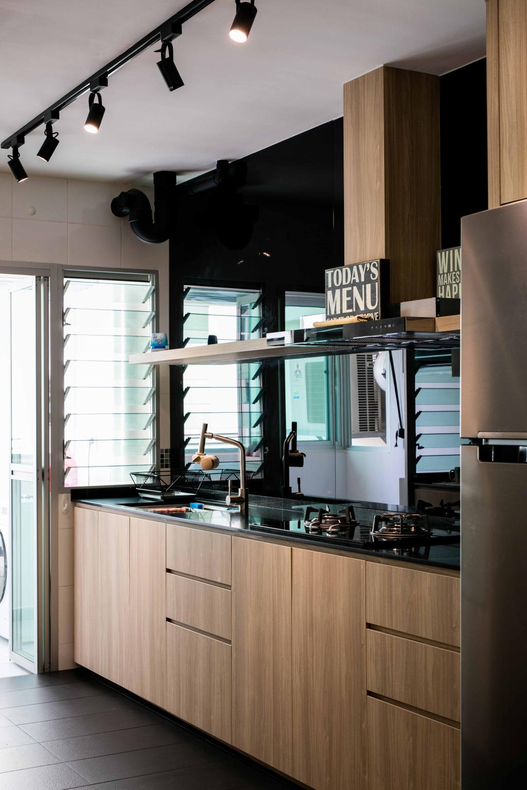 Scandinavian, HDB, Kitchen, Sumang Link, Interior Designer, Schemacraft, Laminate, Floor Tiles, Fridge, Hood, Stove, Sink, Track Lights, Glass Backing