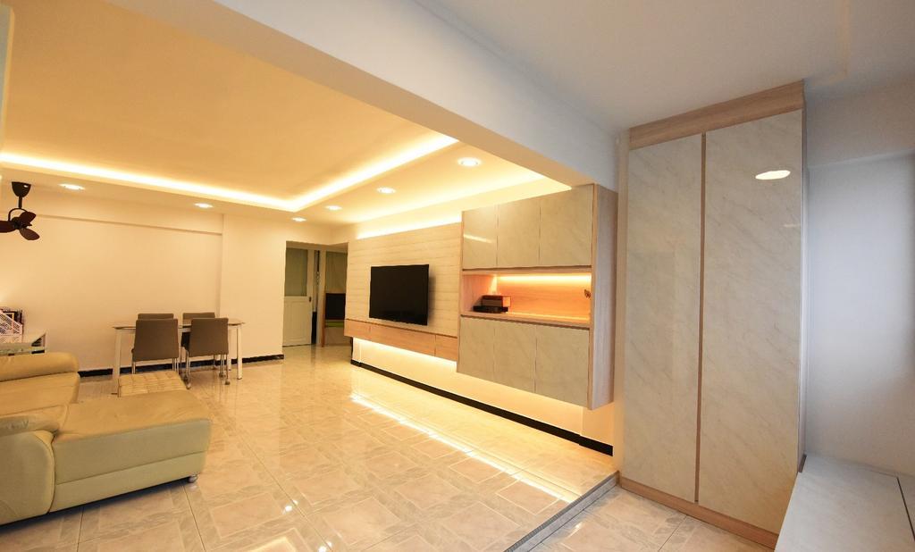 Scandinavian, HDB, Living Room, Eunos Crescent, Interior Designer, Starry Homestead, Flooring, Couch, Furniture, Indoors, Interior Design, Electronics, Entertainment Center