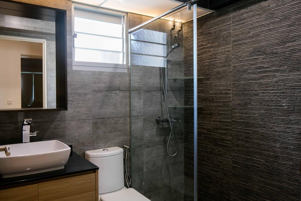 Scandinavian, HDB, Bathroom, Sumang Link, Interior Designer, Schemacraft, Wall Tiles, Shower Screen, Sink, Cabinet, Toilet Bowl, Mirror, Indoors, Interior Design, Room, Brick