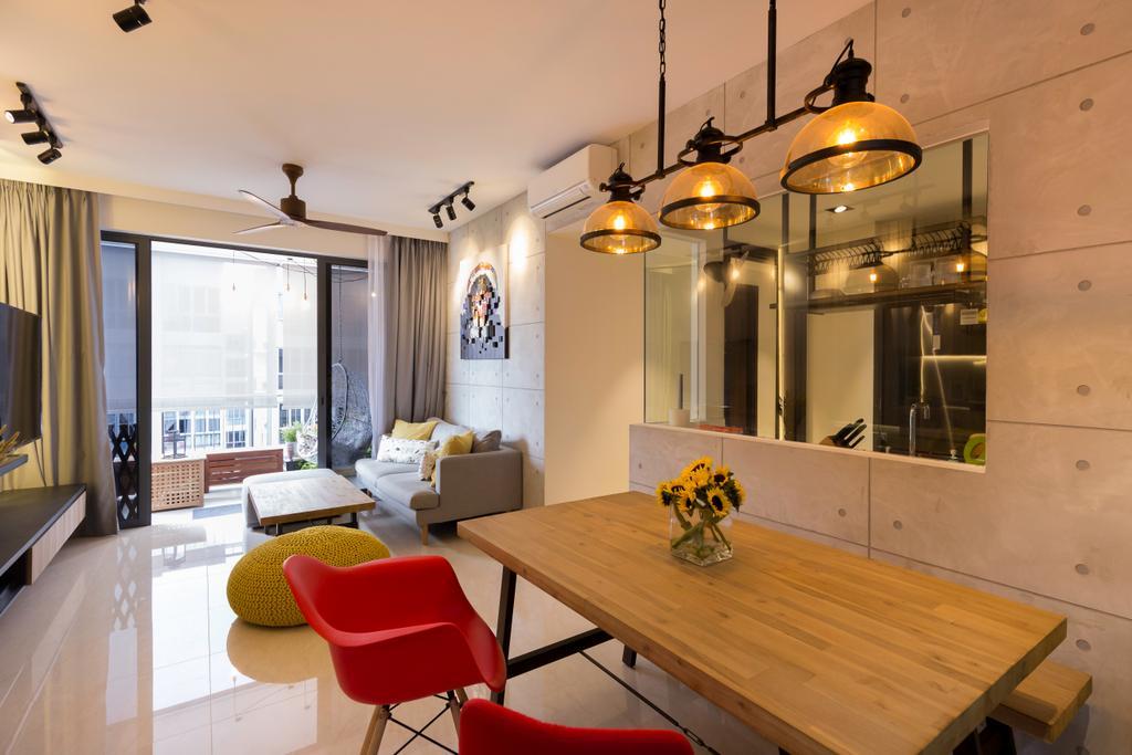 Industrial, Condo, Dining Room, Signature @ Yishun, Interior Designer, Starry Homestead, Contemporary, Chair, Furniture, Light Fixture, Indoors, Interior Design, Room