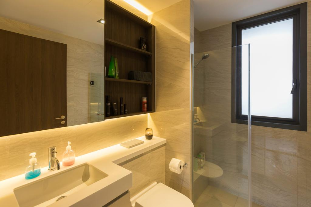 Industrial, Condo, Bathroom, Signature @ Yishun, Interior Designer, Starry Homestead, Contemporary, Indoors, Interior Design, Room, Shelf, Jacuzzi, Tub