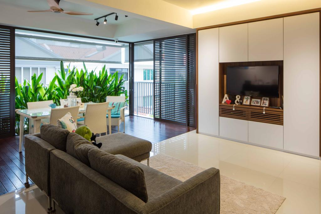 Minimalistic, Condo, Living Room, St Patrick's Residences, Interior Designer, Schemacraft, Cove Light, Tv, Tv Console, Cabinets, Sofa, Balcony, Dining Table Dining Chairs, Couch, Furniture, Indoors, Interior Design, Flora, Jar, Plant, Potted Plant, Pottery, Vase, Electronics, Entertainment Center, Chair