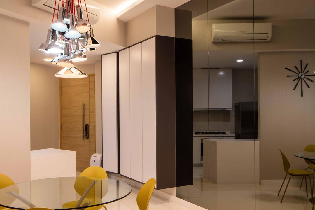 D'Leedon, Schemacraft, Minimalistic, Dining Room, Condo, Round Table, Dining Table, Dining Chairs, Tiles, Cove Light, Hanging Light, Cabinets, Tinted Mirror, Indoors, Interior Design, Room, Furniture, Table