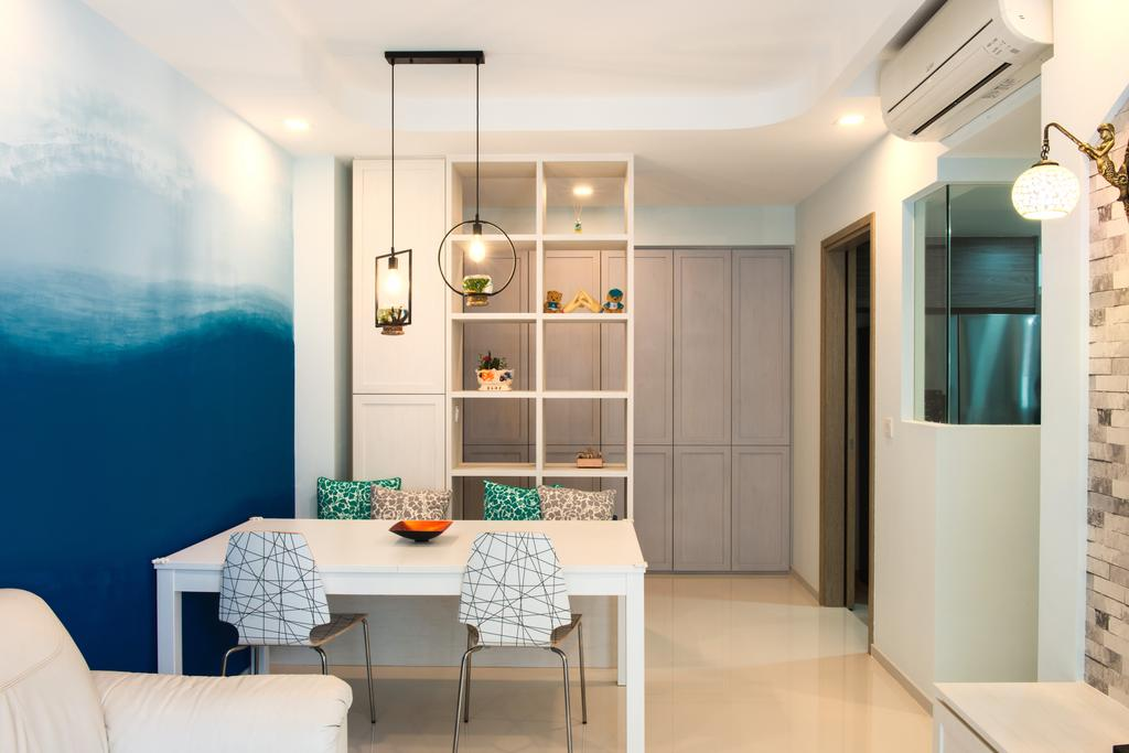 Modern, Condo, Dining Room, The Terrace, Interior Designer, Dyel Design, Bar Stool, Furniture, Indoors, Interior Design, Room, Light Fixture, HDB, Building, Housing, Loft