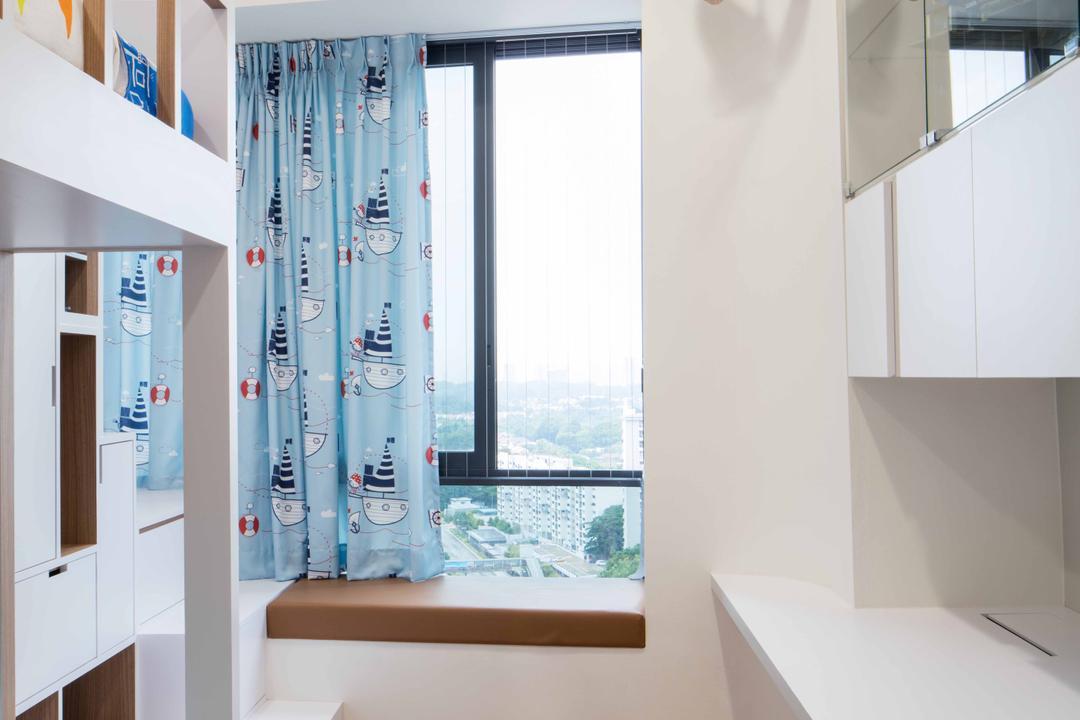 D'Leedon, Schemacraft, Minimalistic, Bedroom, Condo, Parquet, Double Decket Bed, Cabinets, Bay Windows, Curtain, Indoors, Interior Design