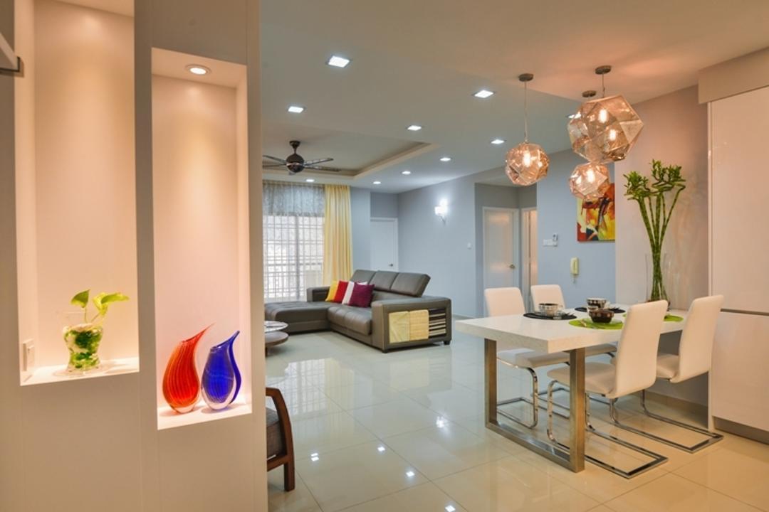 Prima Midah Height, Mega Fusion Design Studio, Transitional, Living Room, Condo, Dining Table, Furniture, Table, Light Fixture, Dining Room, Indoors, Interior Design, Room, Jar, Pottery, Vase, Studio Couch