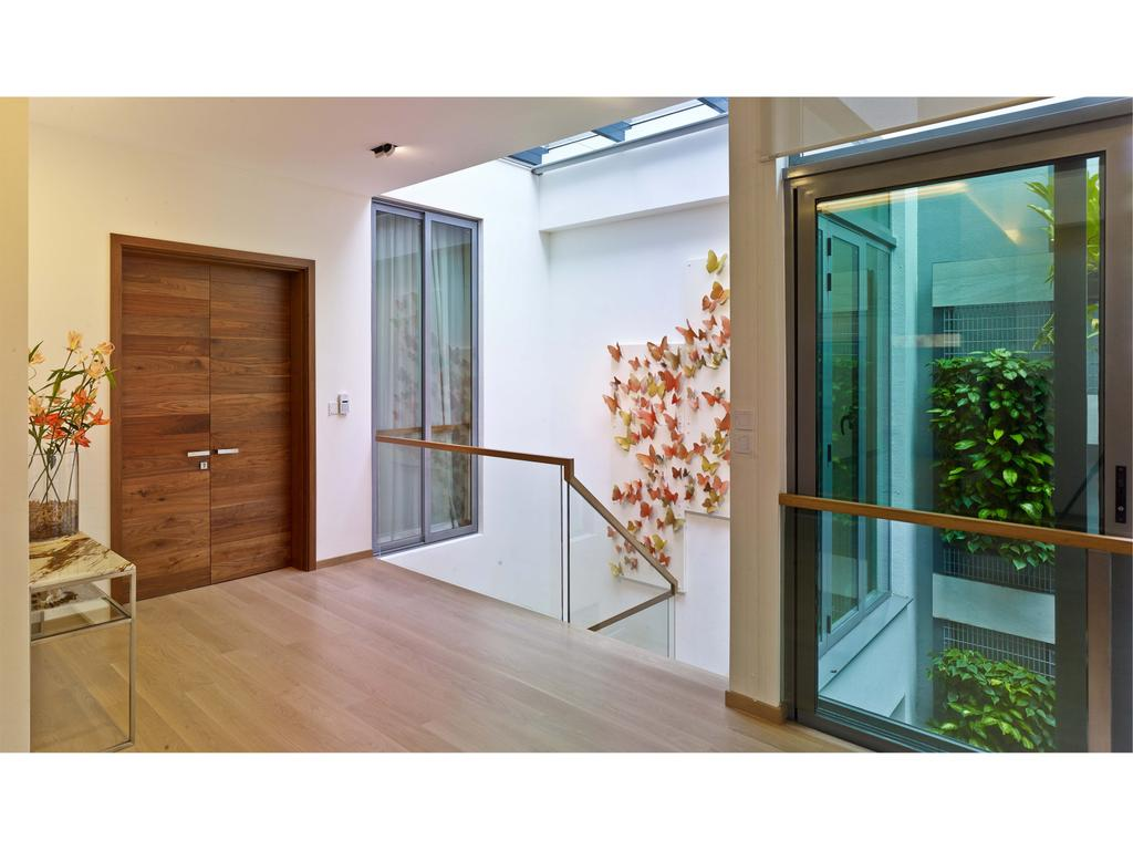 Contemporary, Landed, 26 Dyson Road, Architect, TENarchitects, Stairs, Stairways, Staircase, Flora, Jar, Plant, Potted Plant, Pottery, Vase, Door, Folding Door, Blossom, Flower, Flower Arrangement, Ornament, Animal, Aquarium, Sea Life, Water