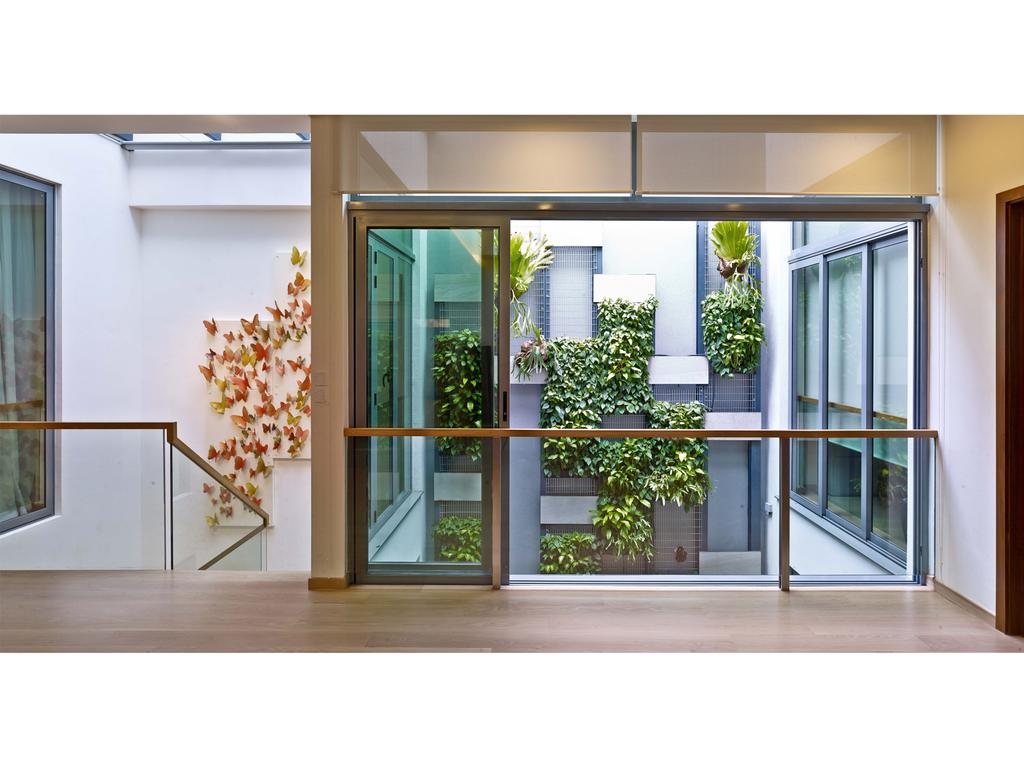 Contemporary, Landed, 26 Dyson Road, Architect, TENarchitects, Upper Storey, Upper Level, Deck, Window, Flora, Jar, Plant, Planter, Potted Plant, Pottery, Vase, Door, Folding Door, Blossom, Flower, Flower Arrangement, Ornament, Balcony
