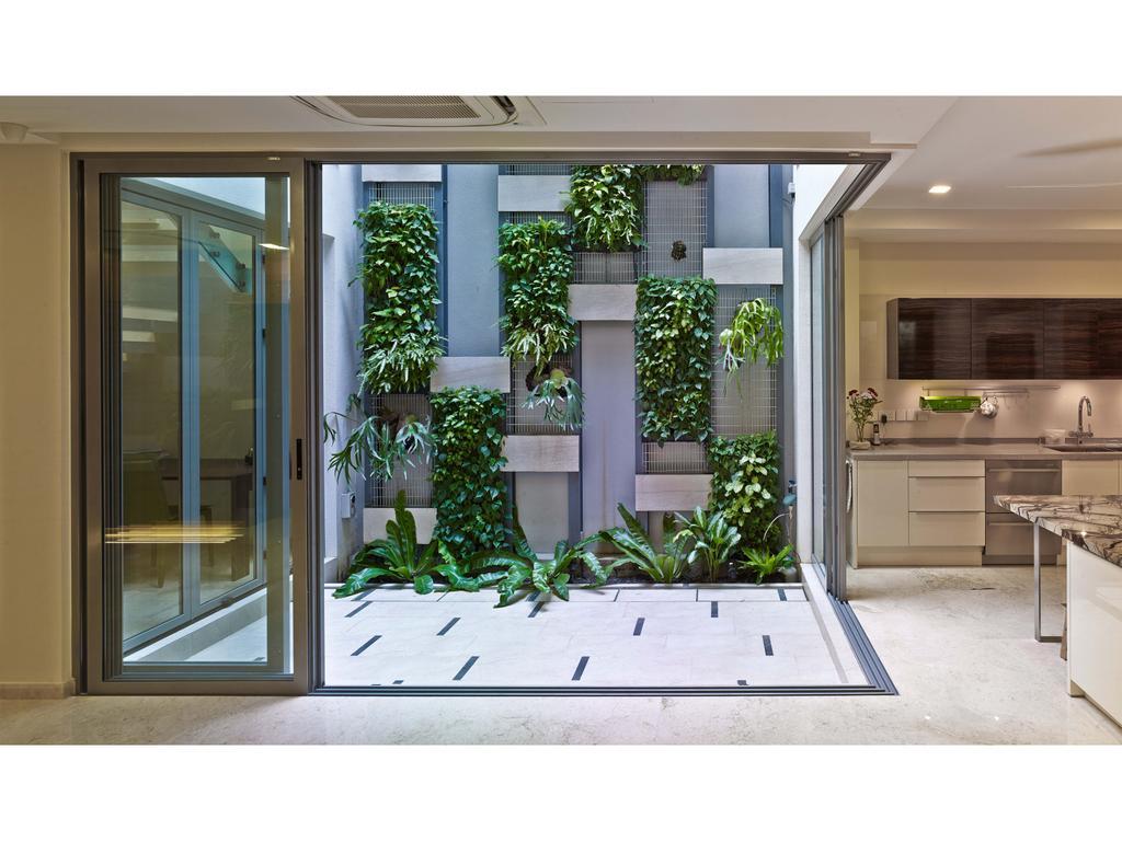 Contemporary, Landed, Balcony, 26 Dyson Road, Architect, TENarchitects, Vertical Gardens, Garden, Door, Folding Door, Window, Flora, Jar, Plant, Potted Plant, Pottery, Vase, Ivy