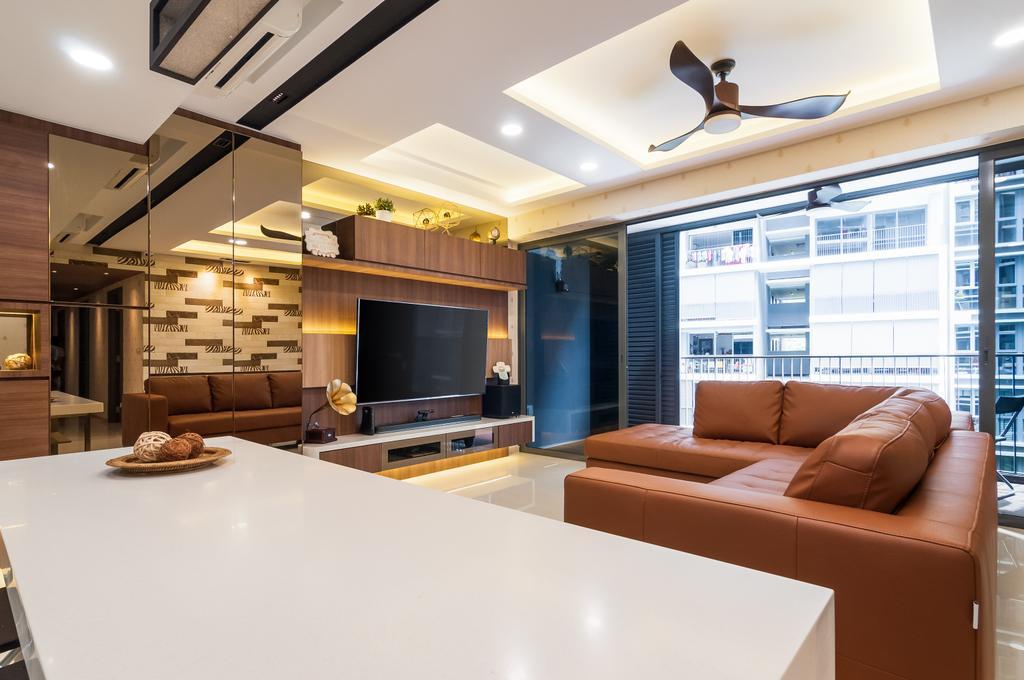 Contemporary, Condo, Living Room, Bellewaters, Interior Designer, ID Sense, Couch, Furniture, Indoors, Interior Design, Electronics, Entertainment Center, Home Theater