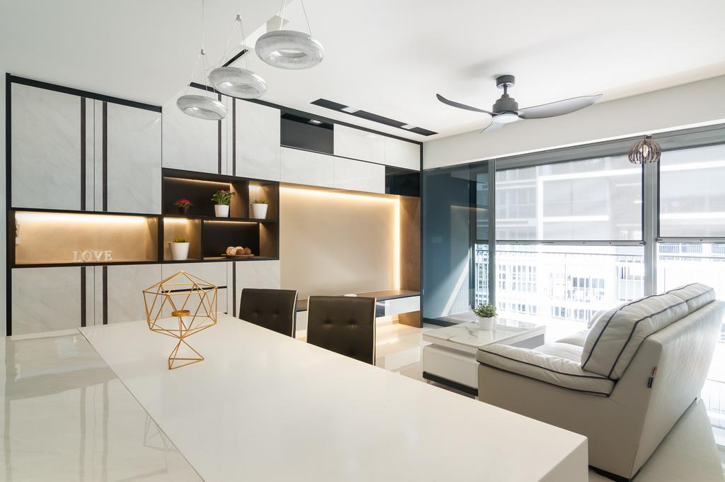 Contemporary, Condo, Dining Room, Bellewaters, Interior Designer, ID Sense, Shelf, Indoors, Interior Design, Collage, Poster