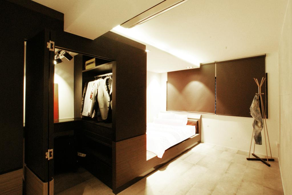 Modern, HDB, Bedroom, Chua Chu Kang (Block 420), Interior Designer, Metamorph Design, Coat Rack, Wardrobe, Walk In Wardrobe, Black, Chic, Simple, Partition, Indoors, Interior Design