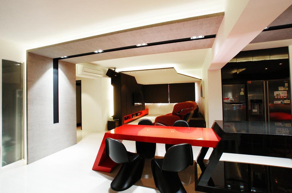 Modern, HDB, Dining Room, Chua Chu Kang (Block 420), Interior Designer, Metamorph Design, Dining Table, Dining Room Chairs, Downlight, False Ceiling, Red, Black, Countertop, Chair, Furniture