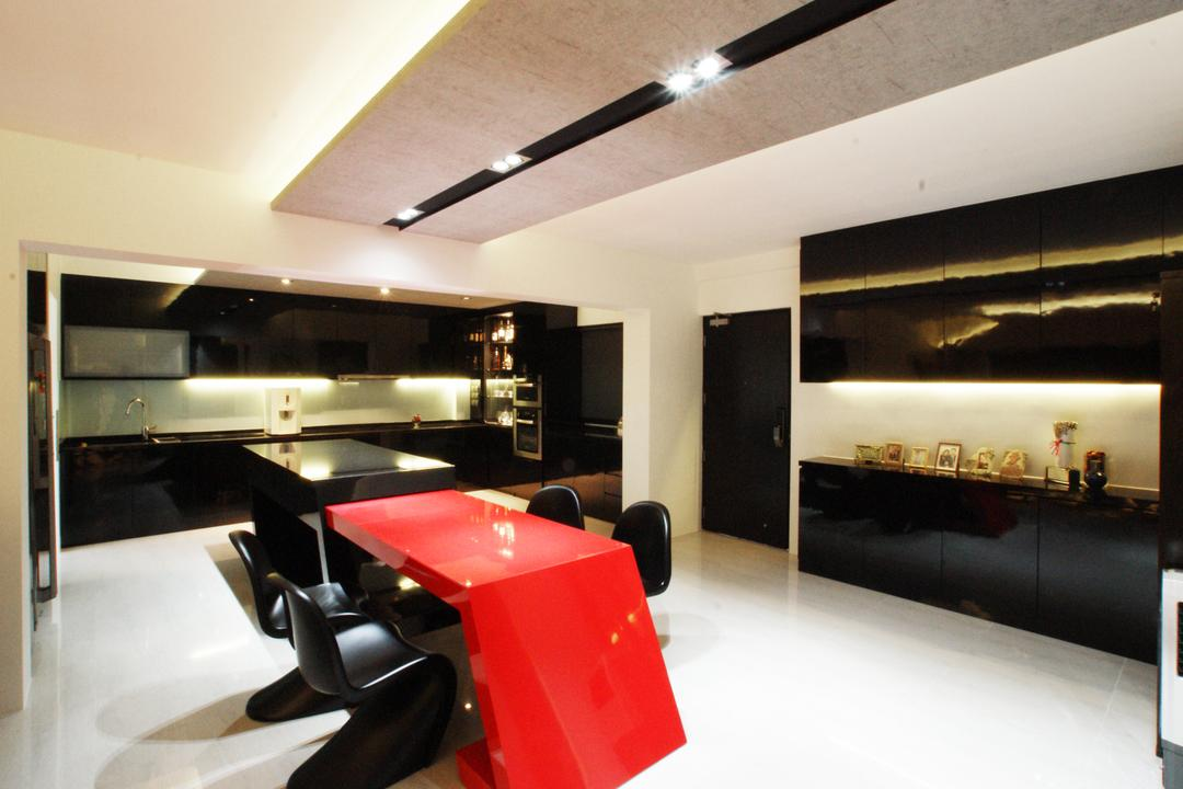 Chua Chu Kang (Block 420), Metamorph Design, Modern, Dining Room, HDB, Dining Table, Stretchable, Dining Room Chairs, Chairs, Red, False Ceiling, Downlight, Kitchen Cabinet, Cabinetry, Backsplash, Sink, Chair, Furniture, Indoors, Interior Design