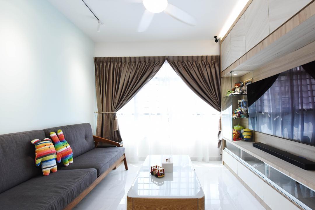 Sumang Lane (Block 220A), Starry Homestead, Scandinavian, Living Room, HDB, Couch, Furniture, Indoors, Interior Design, Mattress