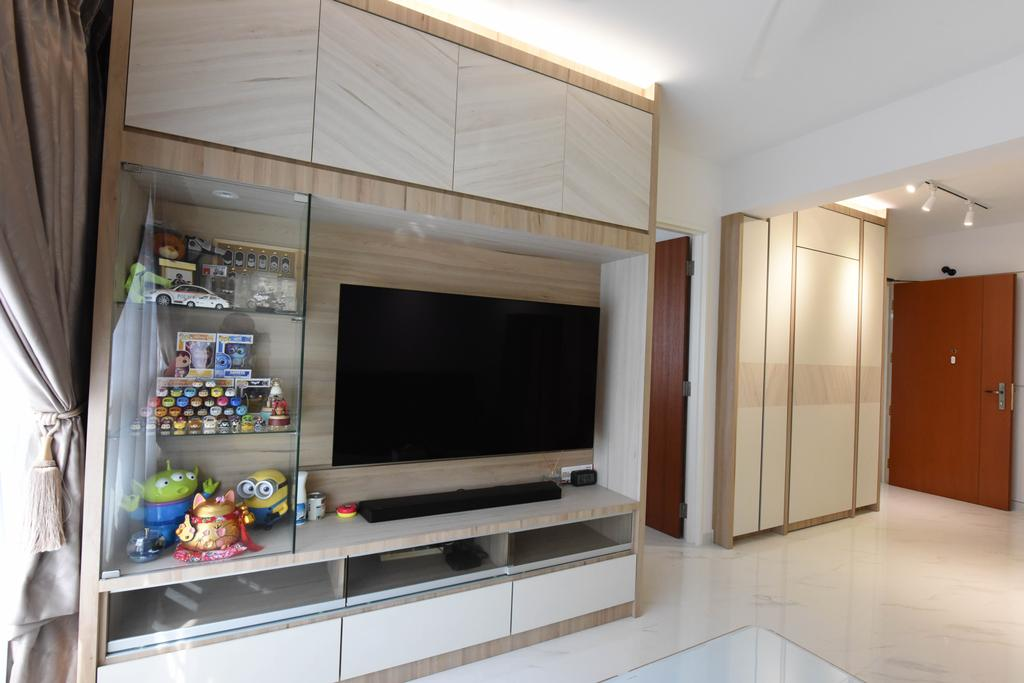 Scandinavian, HDB, Living Room, Sumang Lane (Block 220A), Interior Designer, Starry Homestead, Electronics, Entertainment Center, Indoors, Interior Design, Lcd Screen, Monitor, Screen