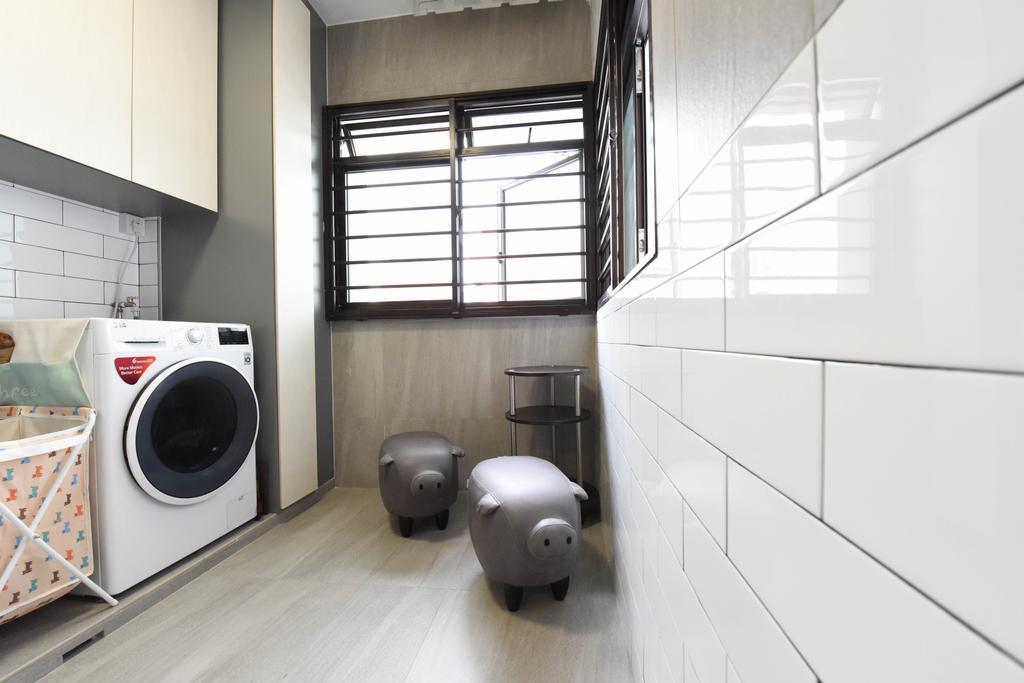 Modern, HDB, Kitchen, Compassvale Road, Interior Designer, Starry Homestead, Bathroom, Indoors, Interior Design, Room