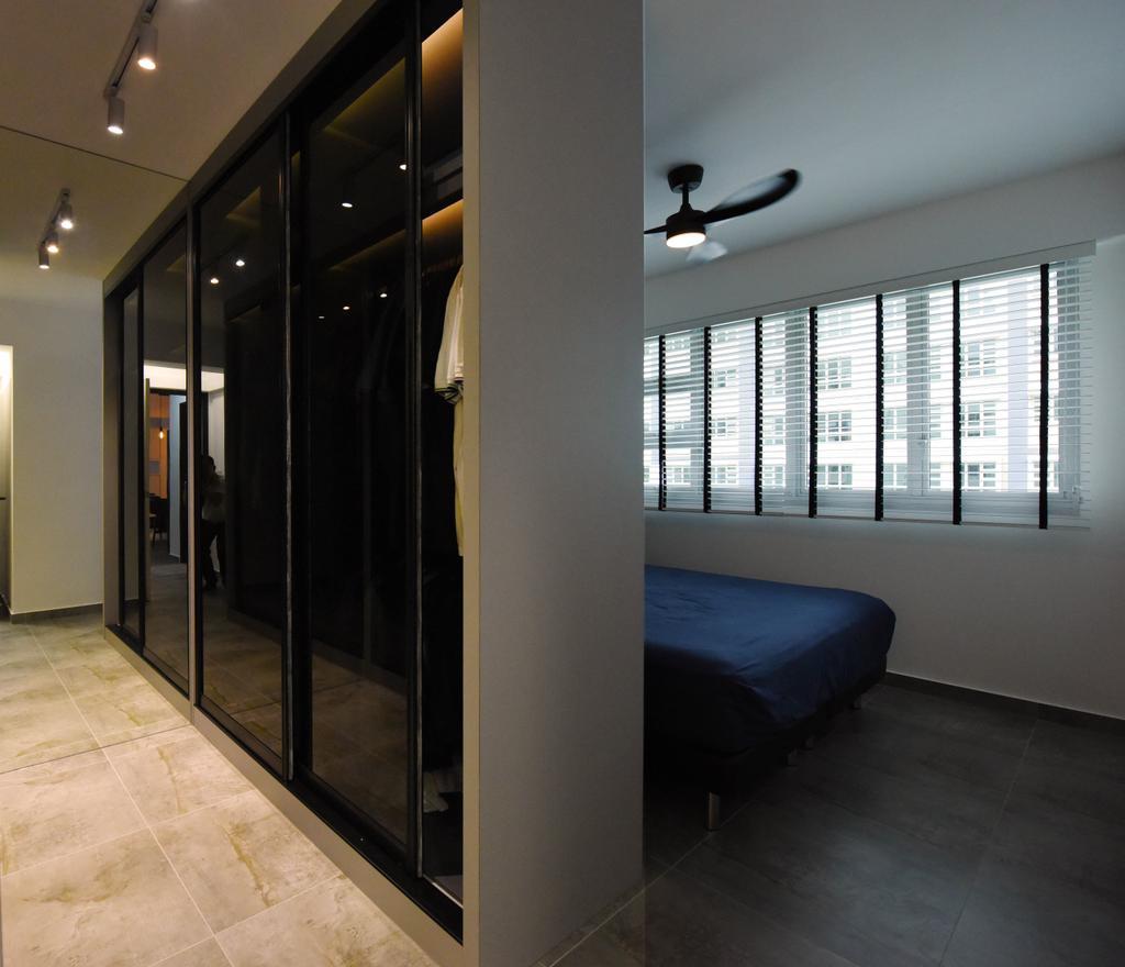 Industrial, HDB, Bedroom, Sumang Lane (Block 233B), Interior Designer, Starry Homestead, Minimalist, Prison, Light Fixture, Door, Sliding Door