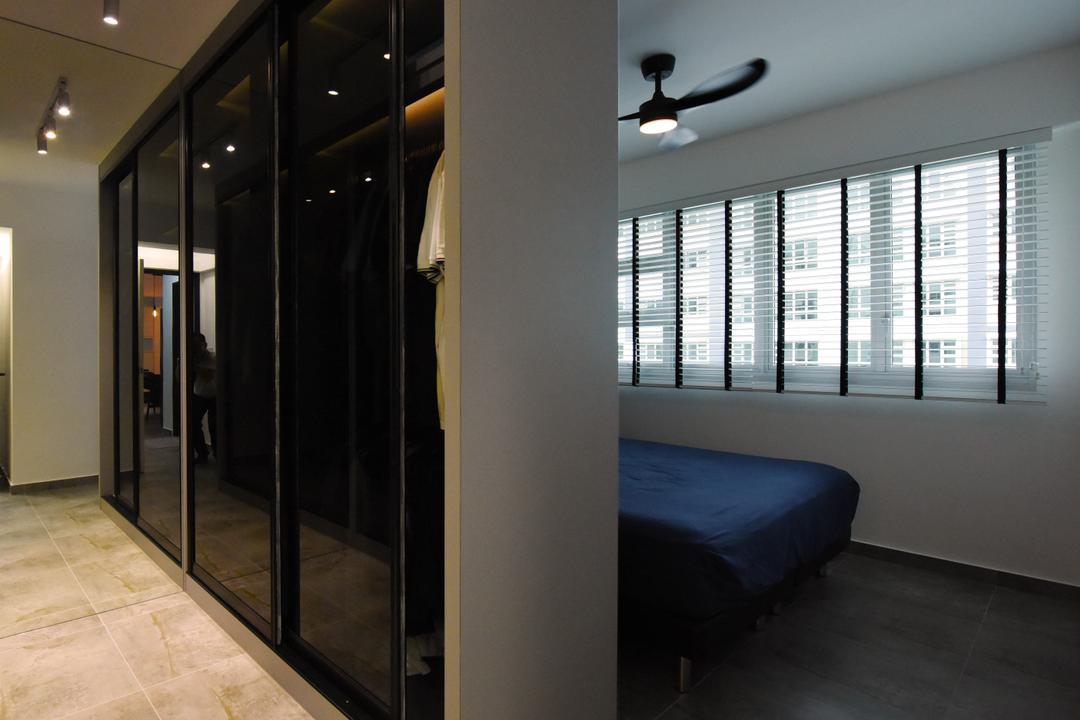 Sumang Lane (Block 233B), Starry Homestead, Industrial, Minimalist, Bedroom, HDB, Prison, Light Fixture, Door, Sliding Door