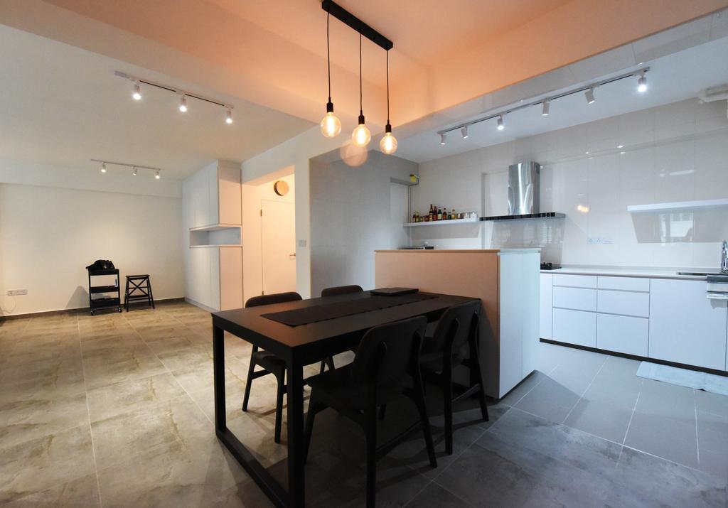 Industrial, HDB, Dining Room, Sumang Lane (Block 233B), Interior Designer, Starry Homestead, Minimalist, Chair, Furniture, Tile, Dining Table, Table
