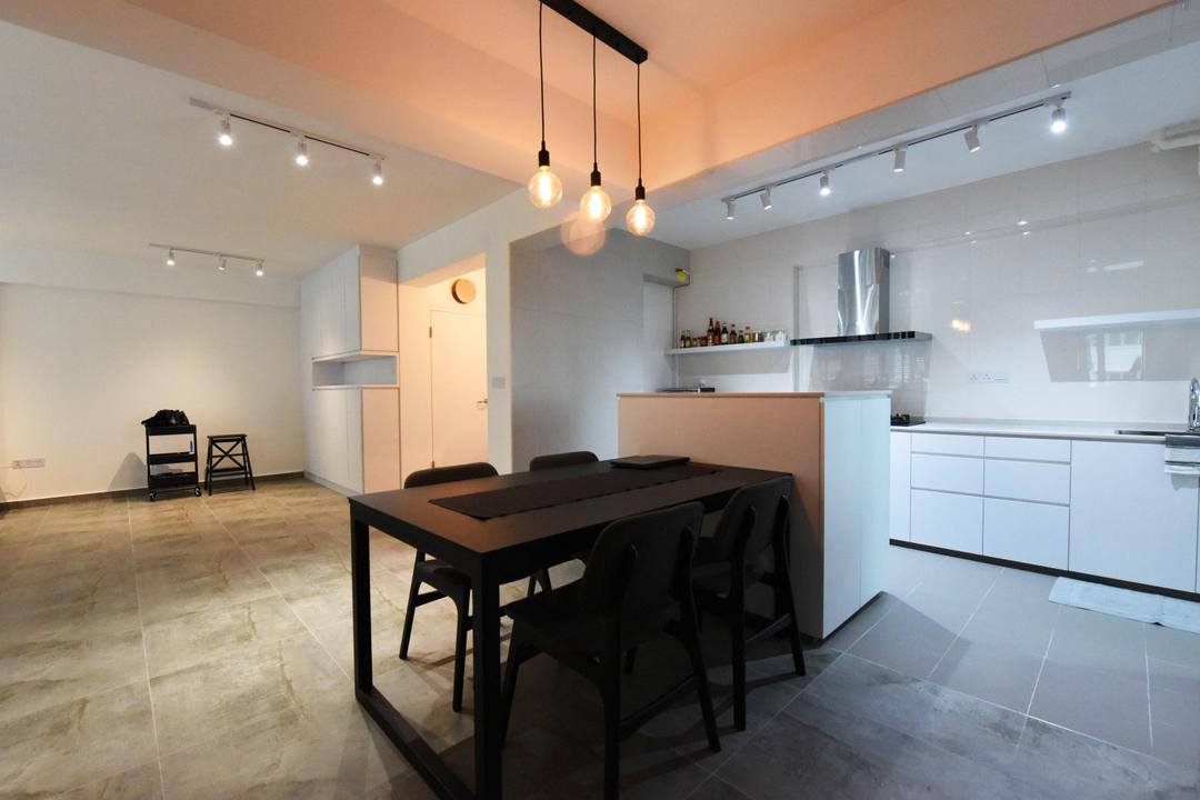 Sumang Lane (Block 233B), Starry Homestead, Industrial, Minimalistic, Dining Room, HDB, Chair, Furniture, Tile, Dining Table, Table