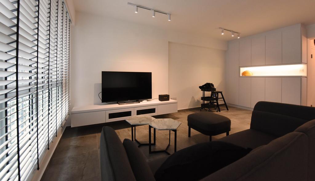 Industrial, HDB, Living Room, Sumang Lane (Block 233B), Interior Designer, Starry Homestead, Minimalist, Couch, Furniture, Chair