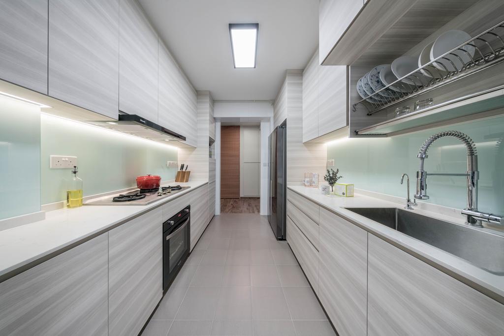 Contemporary, HDB, Kitchen, Ghim Moh Link, Interior Designer, Stylemyspace, Architecture, Building, Skylight, Window, Corridor