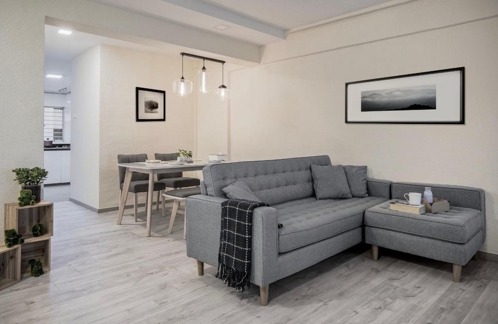 Scandinavian, HDB, Living Room, Jurong East Street 21, Interior Designer, T&T Design Artisan, Dining Table, Furniture, Table, Couch