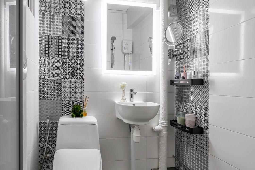 Jurong East Street 21, T&T Design Artisan, Scandinavian, Bathroom, HDB, Indoors, Interior Design, Room, Curtain, Home Decor, Shower Curtain