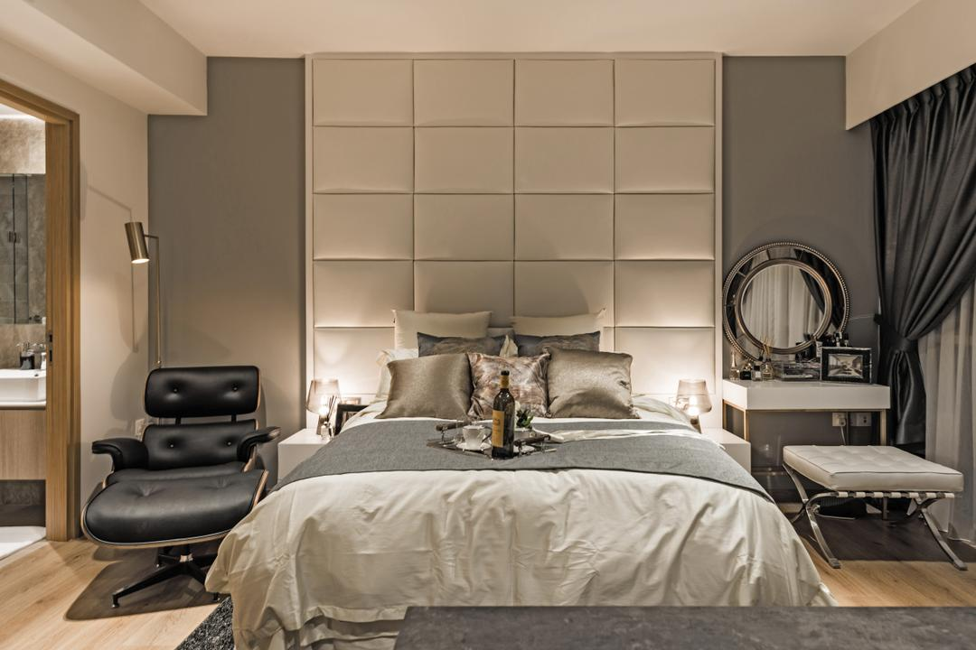 The Vales, Mr Shopper Studio, Modern, Bedroom, Condo, Chair, Furniture, Bed, Curtain, Home Decor, Indoors, Room, Mirror, Interior Design