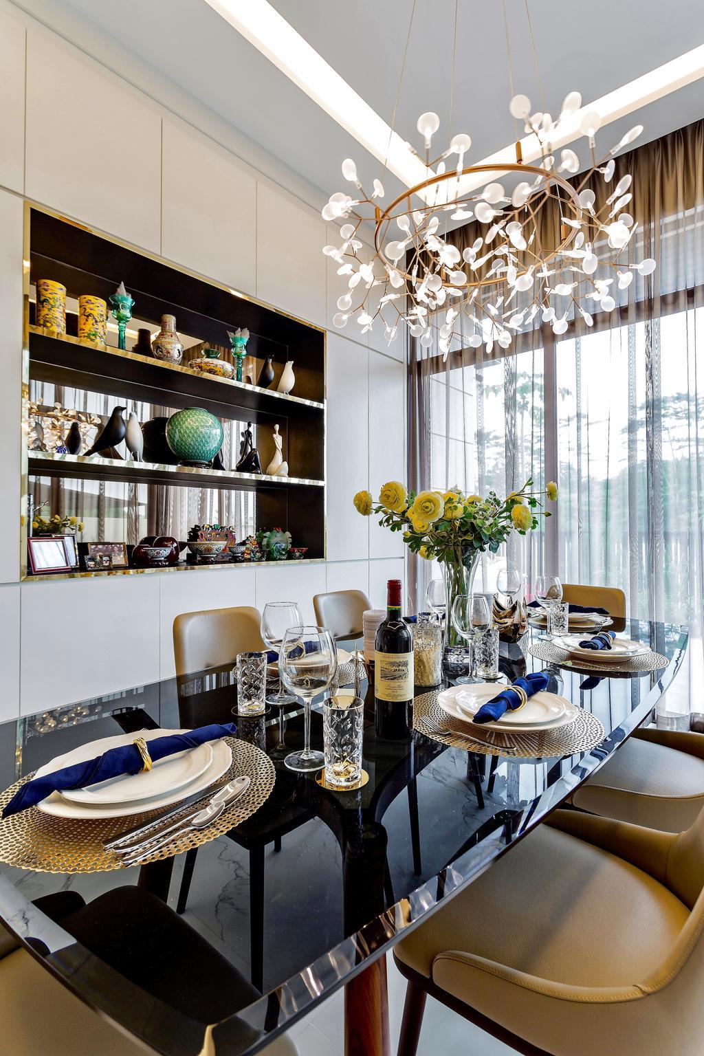 Modern, Landed, Dining Room, Holland Green, Interior Designer, Summerhaus D'zign, Contemporary, Bottle, Glass, Ball, Sphere, Indoors, Interior Design, Room, Alcohol, Beverage, Drink, Wine