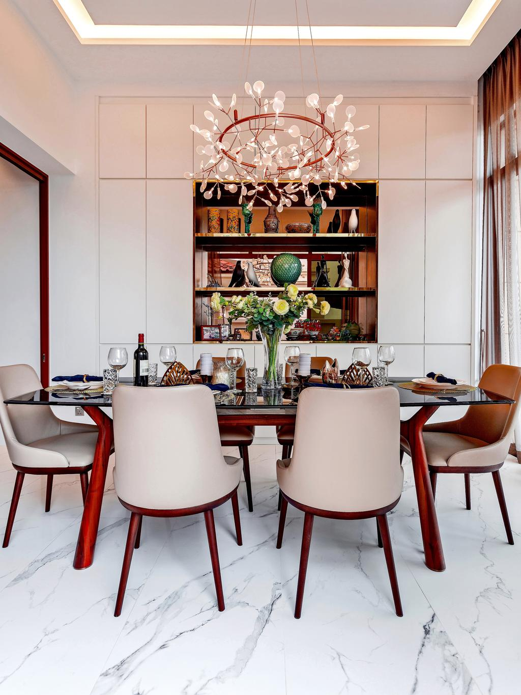Modern, Landed, Dining Room, Holland Green, Interior Designer, Summerhaus D'zign, Contemporary, Chair, Furniture, Indoors, Interior Design, Room, Dining Table, Table, Flora, Jar, Plant, Potted Plant, Pottery, Vase