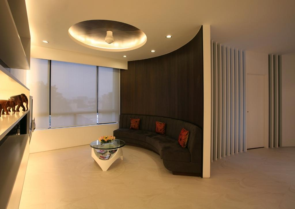 Modern, Condo, Living Room, Avon Park, Architect, 7 Interior Architecture, Cove Light, Tiles, Sofa, Down Likght, Partition, Bowl, Couch, Furniture, Coffee Table, Table, Lighting