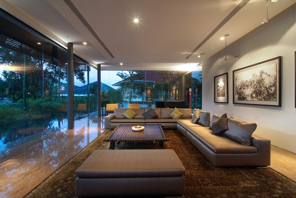 Contemporary, Landed, Living Room, 25 Olive Road, Architect, 7 Interior Architecture, Sofa, Ottoman, Tiles, Down Ight, Art Pieces, Glass Window, Couch, Furniture, Terrace, Indoors, Room