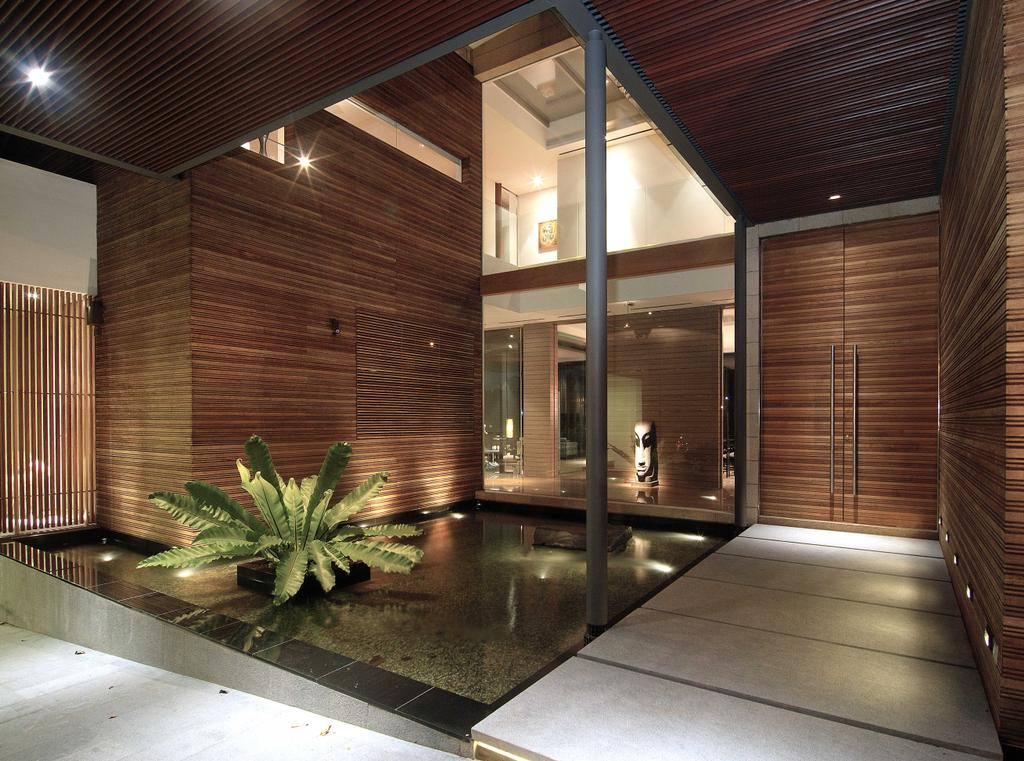 Contemporary, Landed, 25 Olive Road, Architect, 7 Interior Architecture, Entrance, Pond, Plant, Wood, Indoors, Interior Design, Aloe, Flora