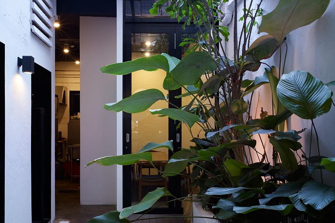 Broun, The Design Abode, Industrial, Commercial, Tiles, Plants, Bench, Flora, Jar, Plant, Potted Plant, Pottery, Vase, Canopy, Umbrella