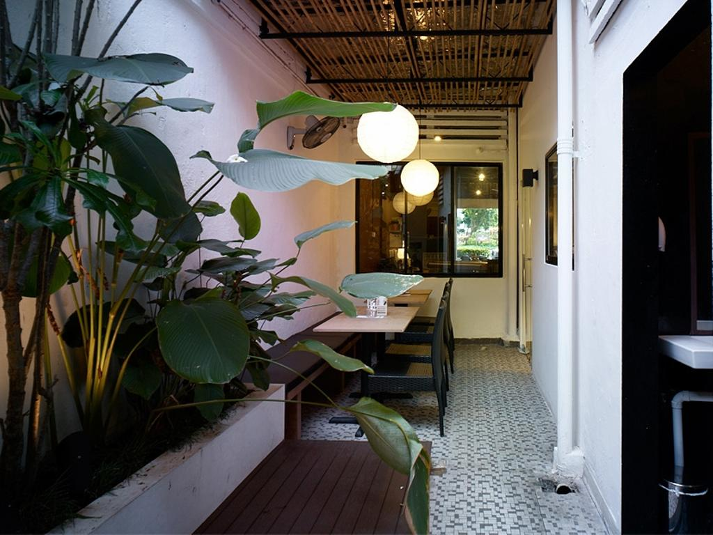 Broun, Commercial, Interior Designer, The Design Abode, Industrial, Dining Lights, Dining Tables Chairs, Bench, Tiles, Flora, Jar, Plant, Potted Plant, Pottery, Vase