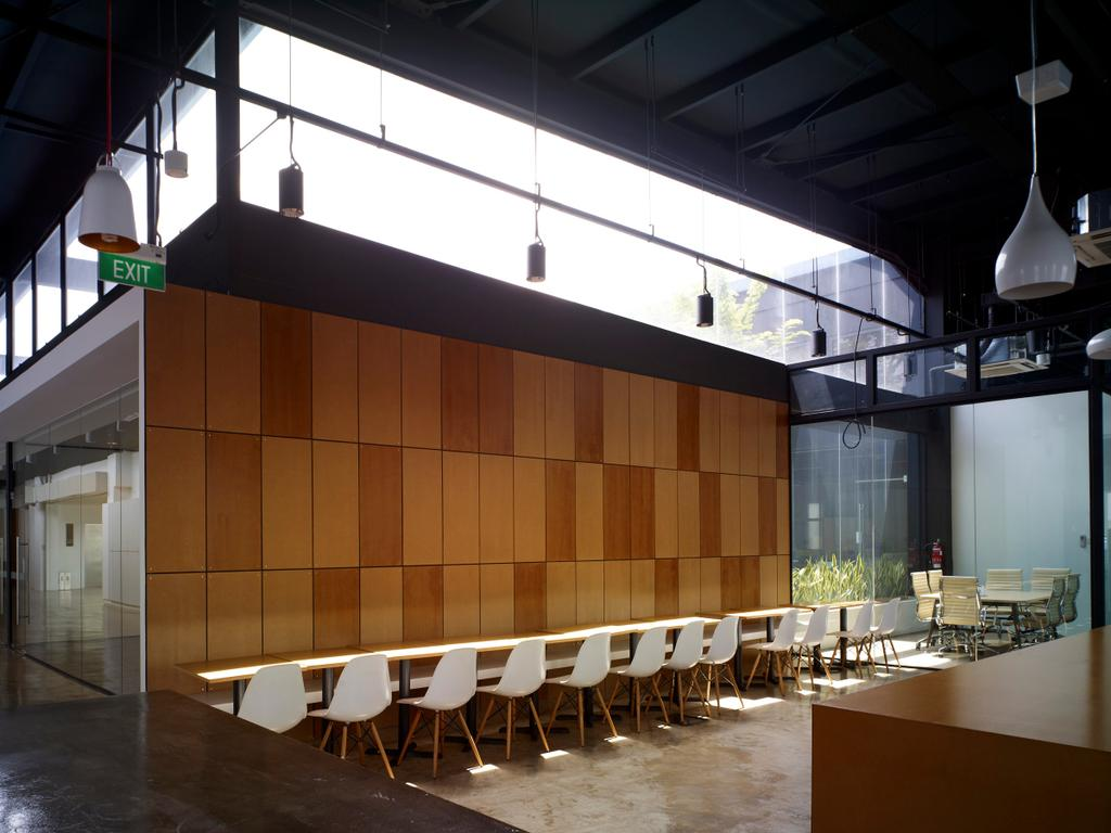 HG Metal HQ & Warehouse, Commercial, Interior Designer, The Design Abode, Minimalistic, Chairs, Long Table, Wood Wall, Tiles, Hanging Lights, Chair, Furniture, Conference Room, Indoors, Meeting Room, Room, Lighting, Dining Table, Table