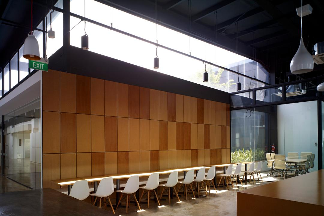 HG Metal HQ & Warehouse, The Design Abode, Minimalistic, Commercial, Chairs, Long Table, Wood Wall, Tiles, Hanging Lights, Chair, Furniture, Conference Room, Indoors, Meeting Room, Room, Lighting, Dining Table, Table