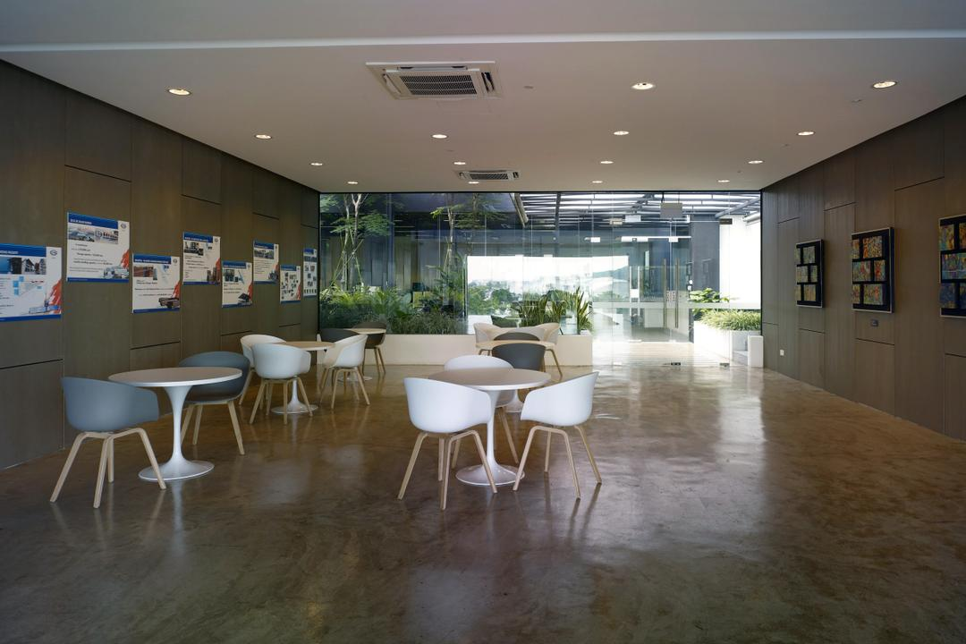 HG Metal HQ & Warehouse, The Design Abode, Minimalistic, Commercial, Chairs, Tables, Down Lights, Tiles, Dining Table, Furniture, Table, Flooring, Dining Room, Indoors, Interior Design, Room, Chair