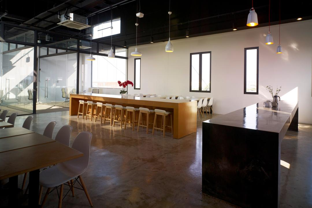HG Metal HQ & Warehouse, The Design Abode, Minimalistic, Commercial, Hanging Lights, Long Tbale, Chairs, Tiles, Chair, Furniture, Dining Table, Table, Lighting, Dining Room, Indoors, Interior Design, Room