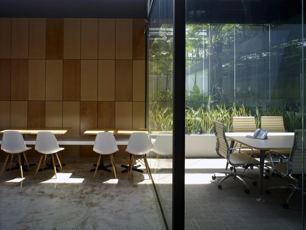 HG Metal HQ & Warehouse, Commercial, Interior Designer, The Design Abode, Minimalistic, Wood Wall, Chairs, Tiles, Chair, Furniture, Conference Room, Indoors, Meeting Room, Room, Dining Table, Table, Dining Room, Interior Design