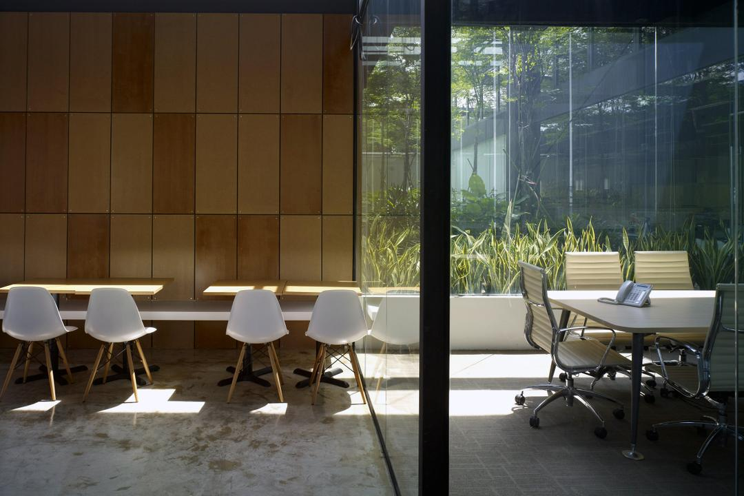 HG Metal HQ & Warehouse, The Design Abode, Minimalistic, Commercial, Wood Wall, Chairs, Tiles, Chair, Furniture, Conference Room, Indoors, Meeting Room, Room, Dining Table, Table, Dining Room, Interior Design