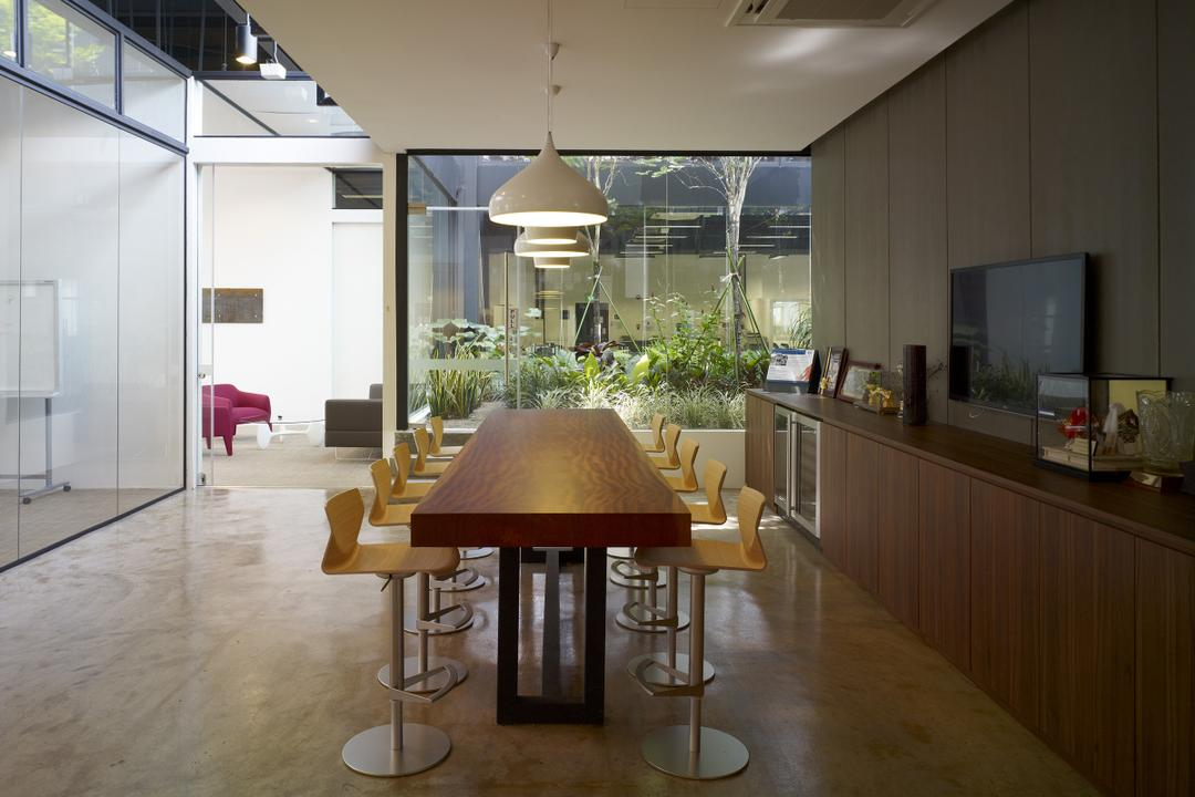 HG Metal HQ & Warehouse, The Design Abode, Minimalistic, Commercial, Pantry, Long Table, Bar Stool, Island Tbale, Hanging Lights, Tiles, Wood Cabinet, Laminate, Flora, Jar, Plant, Potted Plant, Pottery, Vase, Chair, Furniture, Dining Room, Indoors, Interior Design, Room, Dining Table, Table